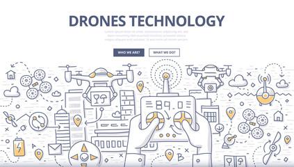 Drones Technology Doodle Concept
