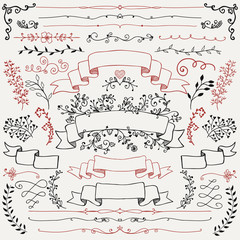 Hand Drawn Floral Design Elements, Ribbons