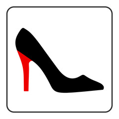 High heel shoes icon. Elegant black  and red silhouette. Information sign. Women shoe symbol. Fashion label. Female of shoe in square isolated on white background. Stock Vector illustration.