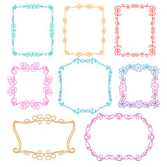 Vintage photo frames set, drawing doodle style