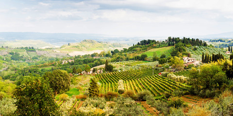 Beautiful scenic view of rolling hillside in Tuscany region of I