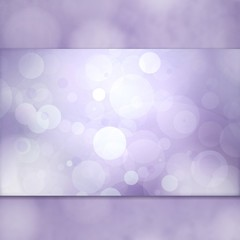 purple background, white bokeh lights on thick center panel or ribbon, soft spring or Easter background website layout, purple circles floating in air