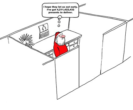 Christmas cartoon about Santa Claus hoping he will get out of work early so he can deliver presents.