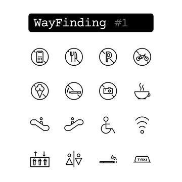 Set line thin icons. Vector. Wayfinding