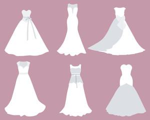 Set wedding dresses of different styles. Vector illustration