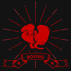 Hanging boxing gloves. on a black background in retro style. vintage. vector.