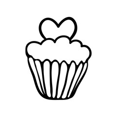 Valentine cupcake sketch with one heart