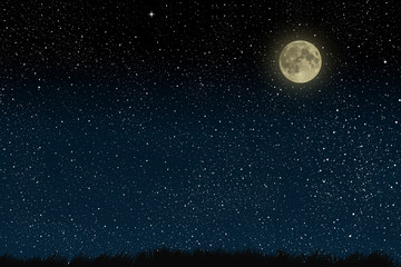 Printed kitchen splashbacks Night Beautiful magic blue night sky with clouds and fullmoon and stars and grass