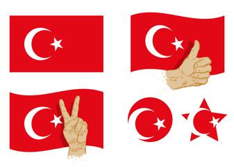 Turkey flag icons set. vector illustration