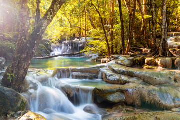 Wall Mural - Beautiful waterfall in the deep forest
