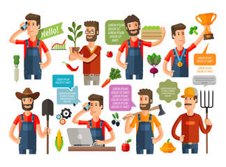 farmer or farming, gardening icons set. vector illustration