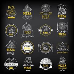 Pizza menu restaurant badges. Food design template.