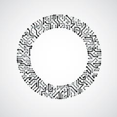 Vector circuit board circle, digital technologies abstraction.