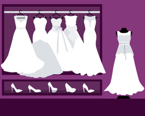 Collection of wedding dresses in the shop. Vector illustration