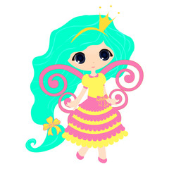 Brightly Beautiful fairytale Cartoon Illustration Princess girl for Children Education.  vector  game for children, a cute fairy on a white background