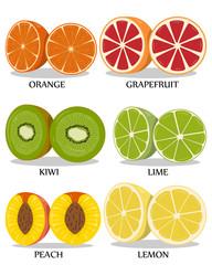 Set isolated on white background tropical fruit. Vector illustration