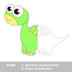 Dino to be colored. Vector trace game.