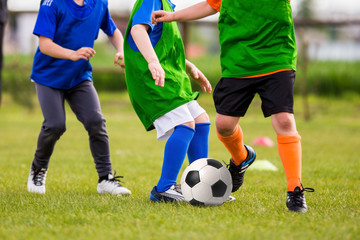 Soccer Football Teams Playing Soccer Football Training Match. Players Running and Kicking Soccer Ball. Horizontal Sports Background
