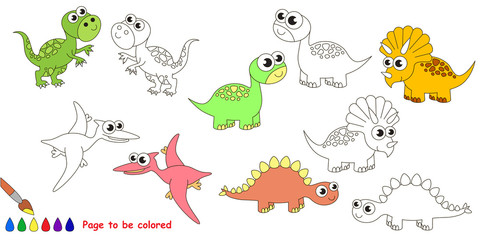 Dino set cartoon. Page to be colored.