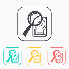 icon of hard disk search color set