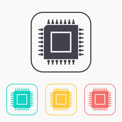 icon of microchip color set