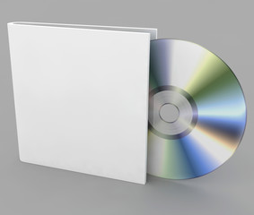 Blank compact disk on a gray background