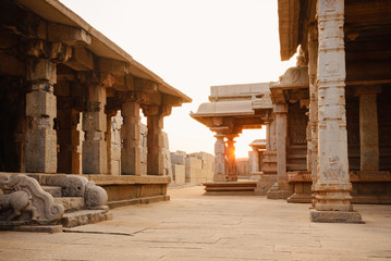 Beautiful ancient ruins of Hazara Rama temple in Hampi
