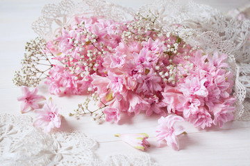Bouquet of pink hyacinths on holiday