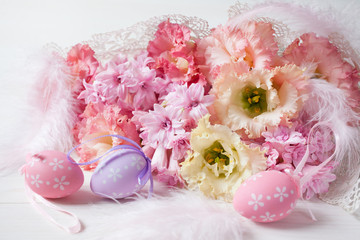 Easter flowers pink hyacinths and eggs