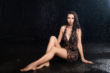 Sexual woman under water drops, body