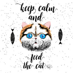 Deurstickers Hand getrokken schets van dieren Keep calm and feed the cat. Sign with cute smiling cat. Motivational lettering on texture background. Inscriptions for pet lovers. Inspirational typographic calligraphy. Demanding phrase.