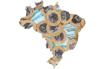 Brazilian 1 Real coins and 100 Reais bank notes