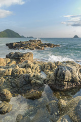 Natural rock with strong water wave at Belanak Beach, Lombok, Indonesia