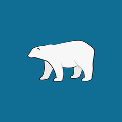 Vector white polar bear isolated on blue background