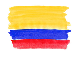 Flag of Colombia painted with gouache