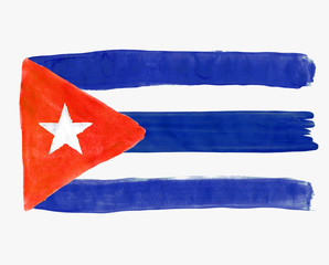 Flag of Cuba painted with gouache