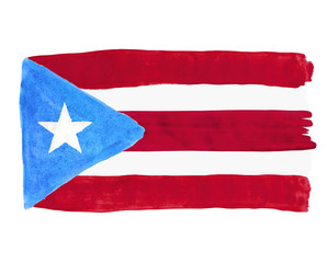 Flag of Puerto Rico painted with gouache