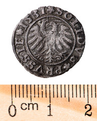 Antique silver Polish coin. King Sigismund I Old. Reverse. Isolated on white