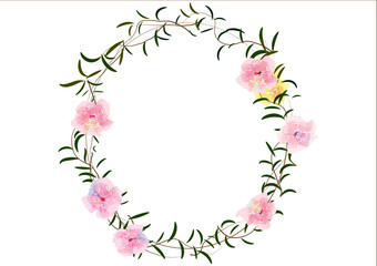 wreath of pink flowers and green leave