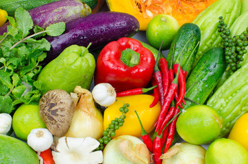 Asian vegetables background. Healthy eating