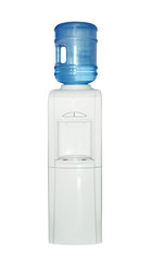 The top-loaded white cooler of a nineteen-liter bottle isolated on white