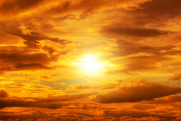 Sunset, sunrise with clouds. Yellow warm sky background