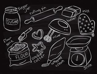 baking equopment doodle on chalk board
