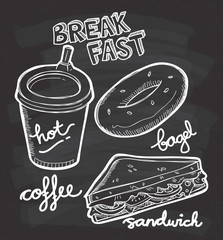 breakfast food and drink doodle on chalkboard background