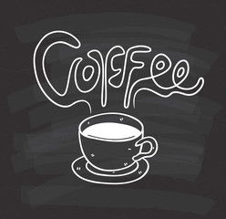 cup of coffee doodle on chalkboard background