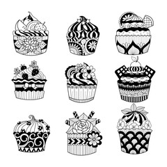 Hand drawn cupcake for coloring book for adult
