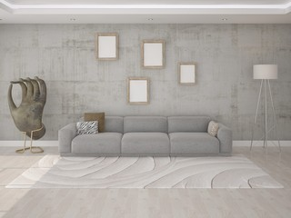 Interer a living room with a comfortable sofa.