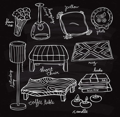 Set of furniture doodle on chalk board