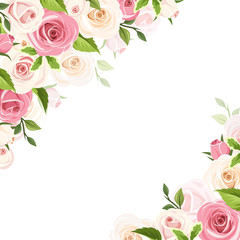 Vector white background with pink and white roses and green leaves.