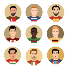 Set of vector icons - people of different nationalities. Men